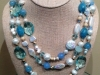 Blue Topaz and Pearl Wrap Necklace 60