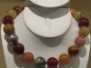 Bubble gum agate necklace w/ss Bali beads