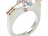 10mm Cubic Zirconia Tension Ring, 14k Gold and Brushed Sterling Silver