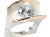 10mm Cubic Zirconia Ring, 14k Gold and Bushed Sterling Silver