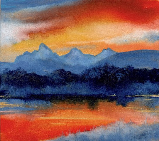 "Kay Stratman, ""Teton River Sunrise"", 4-3/4""x5-1/4"" Watercolor"