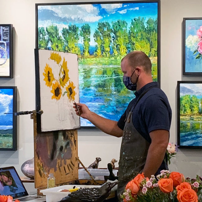 Artist Caleb Meyer showing his painting process at Horizon Fine Art Gallery in Jackson Hole on July 3, 2020.