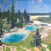 "Chris Segre-Lewis, ""Twin Pools, Yellowstone"" Oil on Canvas ~ 24"" x 24"""