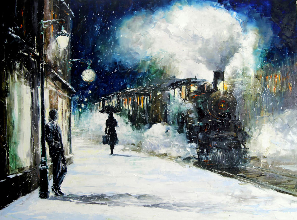 "Gleb Goloubetski - Oil Painting, ""Past Time"" Train"